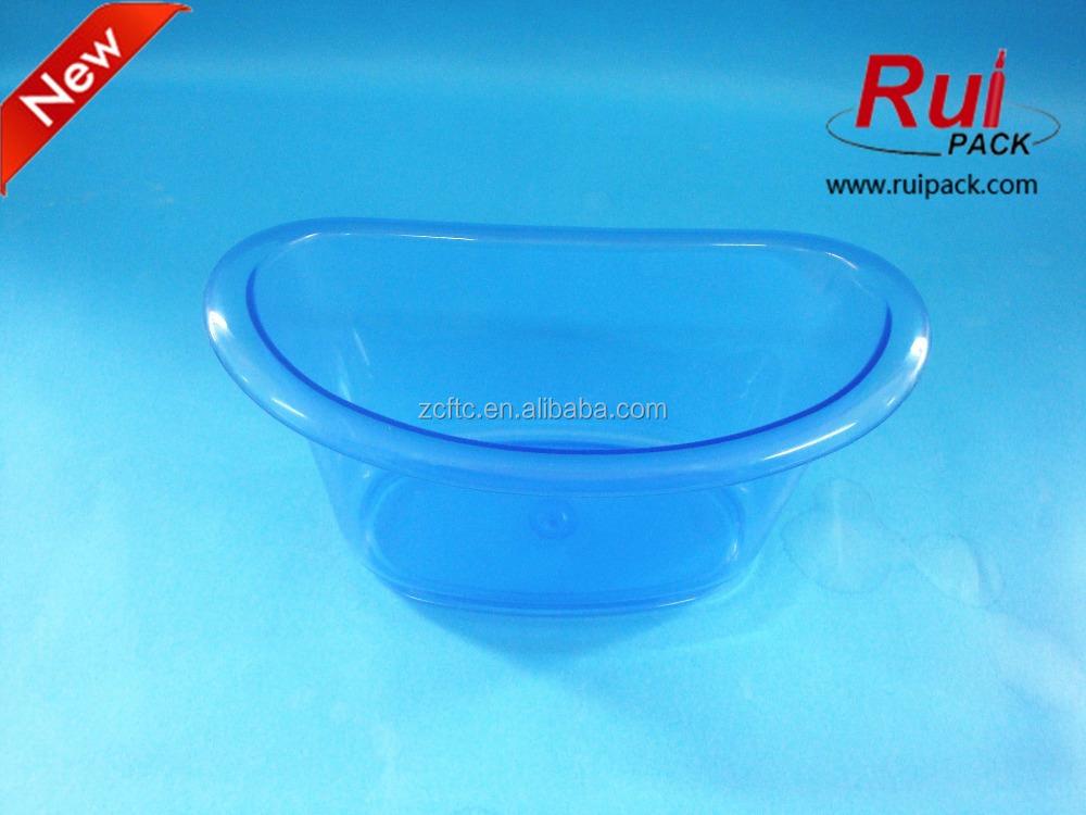 blue clear plastic mini bathtub container ps transparent