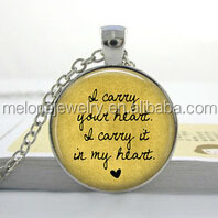 I carry your heart,I carry it in my heart- DIY custom photo Necklace Art glass dome jewelry Nature glass dome frame