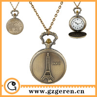 68o Paris Eiffel Tower Decoration Chinese Guangzhou Wholesale Open-face Big Size Pocket Watches In Bulk