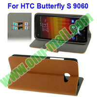 Wood Texture Cover For HTC Butterfly S Leather Case with Credit Card Slots & Stand (Brown)