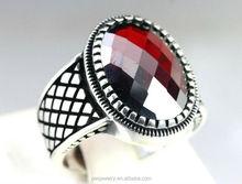 fashion design Sterling Silver 925 Turkish red Garnet Stone men ring