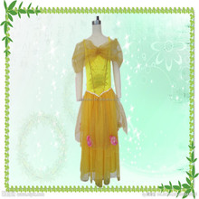 Hot selling fashion halloween party costumes yellow princess dress for woman
