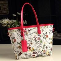 Fashion women's PU leather handbag women flower printing shoulder bag