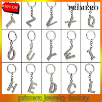 PRIMERO 26 English letters Keychain silver color metal alphabet crystal letter keychain New arrival metal rhinestone keychain
