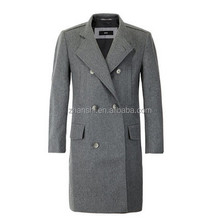 Fashion Gray Design long cashmere jacket Men's Wool Blend Double Breasted Coat
