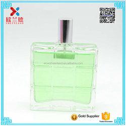 2016 100ml luxury embossed square shape perfume glass bottle with silver aluminium sprayer