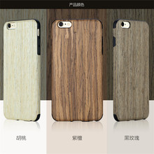 Rock brand double protective TPU and wood design cover case for iphone 6S