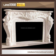 Standard size european natural stone marble fireplace