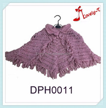 New design children princess style knitted girls cloak poncho sweater with collar and tasseles