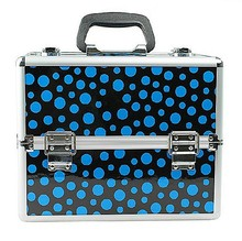 Stylish blue dotted lady use cosmetic case double open structure with pallets RZ-SC-82
