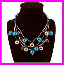 2015 Pearl Jewelry Fashion Imitation Pearl Resin Bead Charm Chunky on Gold Chains Pearl Necklace KD4114