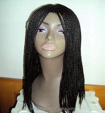 Wholesale black synthetic braiding hair wig, human hair wigs for black women