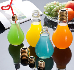 bulb glass bottle with tin screw cap drinking straw cover wholesale