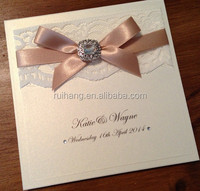 fancy lace cards pocket fold with RSVP customized handmade wedding invitations card