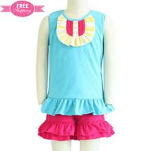ShiJ baby kids clothes stock cotton girl bib t shirt with ruffles shorts