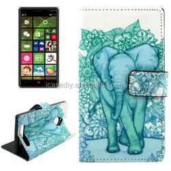 Elephant Pattern Cross Texture Leather Case for Nokia Lumia 830