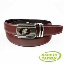 Striped slide belt mens leather adjustable ratchet belt without holes