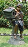 2015 hot sale bronze boy mailbox sculpture