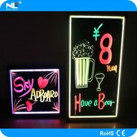 Alibaba hot sale electronic advertising glass led fluorescent writing board