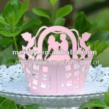 """laser cut """"wedding"""" decorative cupcake wrapper in pink pearlized color from Mery Crafts"""
