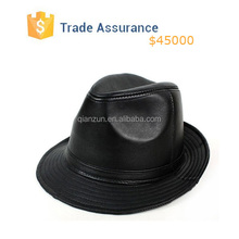 Gentleman Fashion Leather Bucket Hat In Black High Quality Fedora Hat