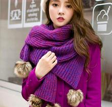 S10595A Best quality big ball top knitting woolen women scarf