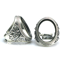 Beadsnice thailand sterling silver adjustable filigree ring blank for men jewelry finger ring findings ID 31762