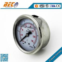 Industrial standard all SS bourdon tube water pressure measuring gauge
