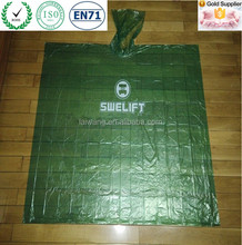 Green pe logo disposable rain poncho cheap