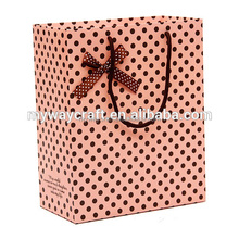 black dot point pink laminated gift paper bag with smart bowknot
