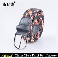 B015 Girls elastic braided stretch belts,braided elastic strech belt with alloy pin buckle
