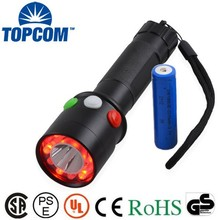 White Red Green Color Warning LED Torch High power Railway Signal Rechargeable Flashlight