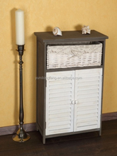 Home furniture factory direct special unique antique storage cabinet with white basket