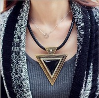 2015 New Vintage Style Geometry Design Exaggerated Big Black Triangle Pendant Necklace