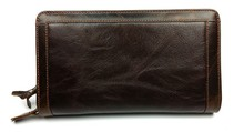 Vintage Genuine Leather Cowhide Men Double Zipper Clutch Bag Bags Large Capacity Wallet Wallets For Man