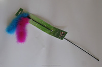 natural feather cat teaser stick toy