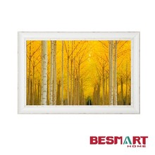 paintings of modern trees canvas wall art with white rustic frame