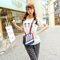 comic 3D stereo effect small messenger bag,striped