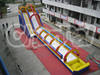 Giant Commercial Inflatable Rainbow Slip n Slide with pool