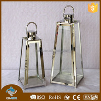Mini decorative clear glass metal lantern stand