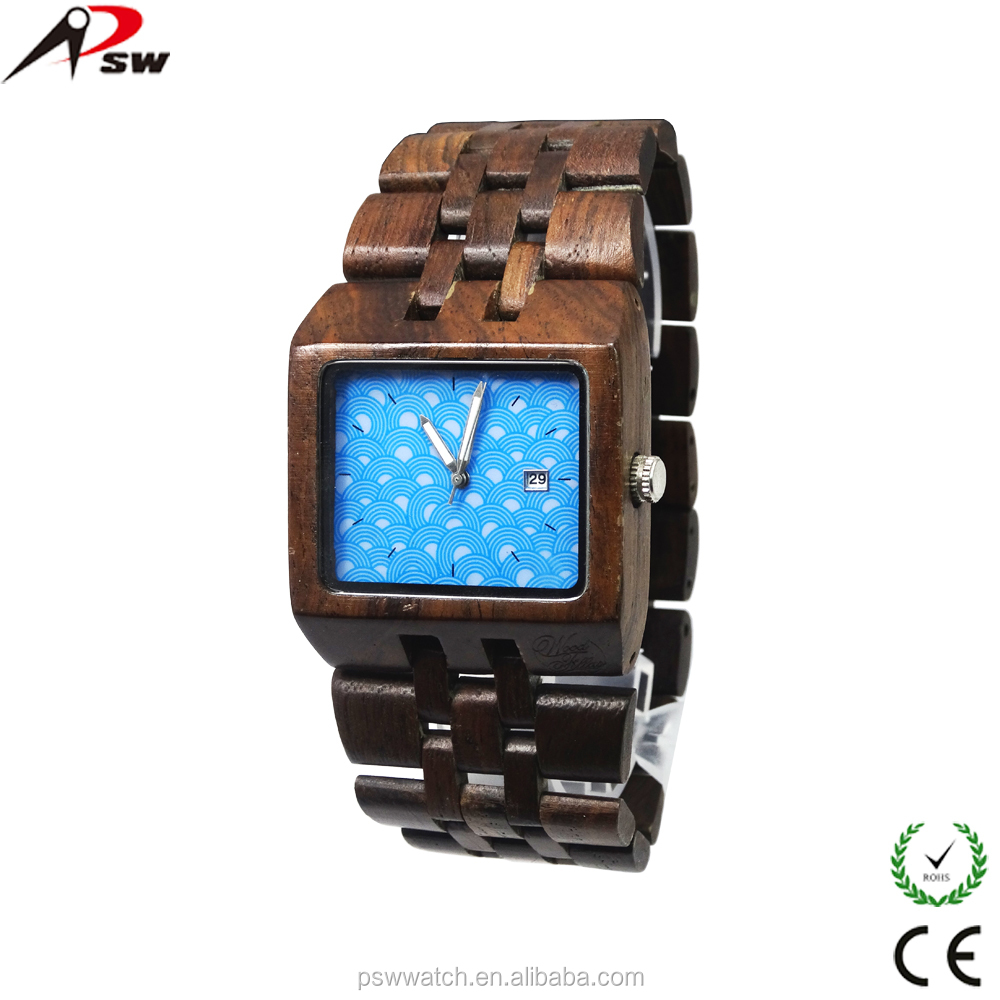 Japan movt square wood watch face support logo custom wooden watch