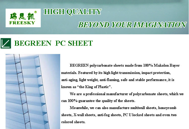 Guangzhou begreen clear twinwall polycarbonate sheet plastic roofing panels - Plaques polycarbonate pour veranda ...
