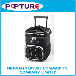 Insulated Wine trolley cooler Bag/Wheeled Music Bluetooth Radio Speaker Rolling Cooler Bag