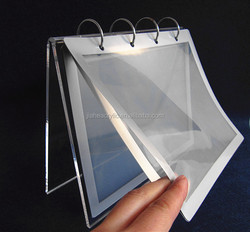 2016 table calendar with iron ring binding PVC photo bag clear acrylic photo frame stand