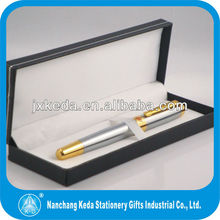 Luxury silver and gold metal ball pen shiny charming silver metal roller pen