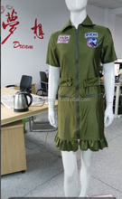 Top Gun Womens 80s Costume Army Aviator Flight Dress Figher Pilot