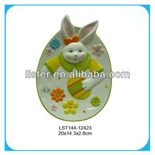 Ceramic rabbit easter decoative plate