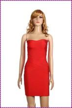 fancy short one piece boob tube elegant red simple evening dress
