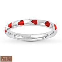 Fashion Jewelry Wholesale Sterling Silver Red Enamel Heart Stackable Ring