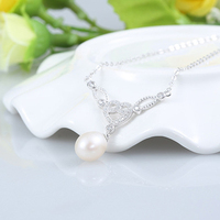 SJG88 Best Gift For Lover New Sale 925 Sterling Silver Elegant Design Simulated Diamond Zirconia Heart Pearl Necklace